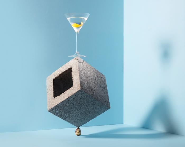 Dry Martini (Montgomery's 15:1 ratio) - 2 Shots Four Pillars Gin, 1/8 Shot Maidenii DryVermouth, 1 Dash Angostura Bitters